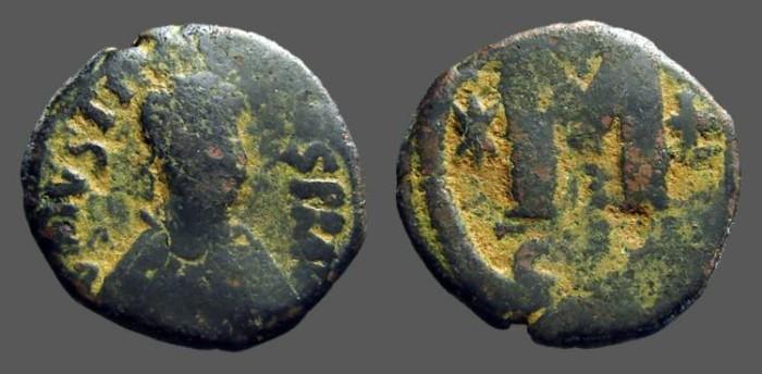 Ancient Coins - Justin I AE32 Follis, Constantinople. SB#63