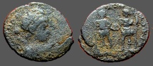 Ancient Coins - Honorius AE3 (14mm) Arcadius and Honorius stg. hold globe between them