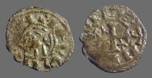 Ancient Coins - Alfonso VIII 17mm billon denaro. bust left / Cross w. stars.
