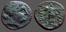 Ancient Coins - Mesembria, Thrace. AE20 Female head rt / Athena Alkidemos adv. left, brandishing spear & shield