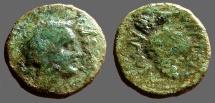 Ancient Coins - Sicily, Entella. Roman Times AE18 Dionysos / Grape Cluster.