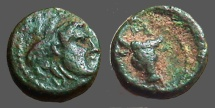 Ancient Coins - Pergamon, Mysia AE9 Hd of Apollo rt. / Horned bull 3/4 to rt.  monogram above. dot border