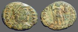 Ancient Coins - Valens AE3 RESTITVTOR REIP, Valens facing, head right, holding labarum & Victory on a globe.