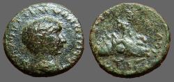 Ancient Coins - Trajan AE16 Cappadocia, Caesarea.  Mt Argaeus w. wreath