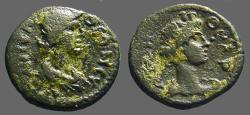 Ancient Coins - Lydia AE16 Autonomous Issue.  Bust of Roman Senate / Tyche