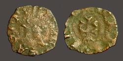 World Coins - Aragon AE14 Dinar - Carlos II of Austria.  Bust left / Patriarchal Cross
