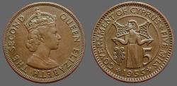 Ancient Coins - Cyprus, Queen Elizabeth II.  AE25 (5) Mils  1955.