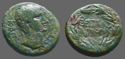 Ancient Coins - Augustus AE22 as.  Thessalonica.  City Name in wreath