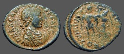 Ancient Coins - Arcadius AE3 (18mm) Victory holds wreath over Arcadius. Constantinople