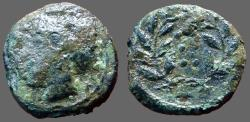 Ancient Coins - Himera, Sicily AE17 Hemilitron. Nymph Himera / 6 pellets in wreath