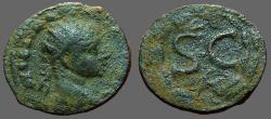 Ancient Coins - Severus Alexander AE19 SC within laurel wreath. Eagle below. Antioch on Orontes.