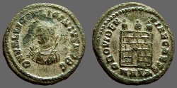 Ancient Coins - Licinius I silvered AE3 Small Bust left w. mappa & scepter / Campgate.