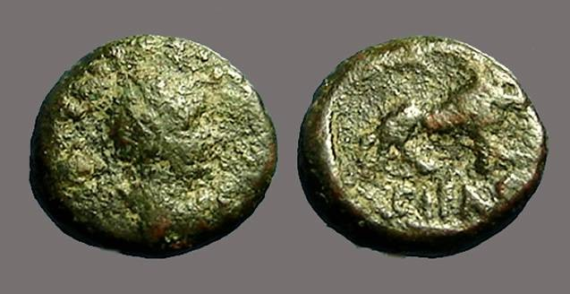 Ancient Coins - Hadrian AE13 Caesarea,  Lion advancing rt.