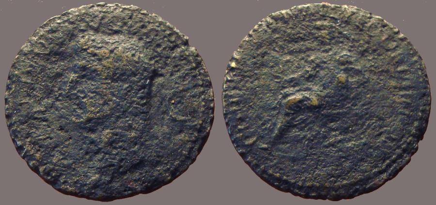 Ancient Coins - Divus Augustus AE28 Dupondius.  Augustus seated in curule chair