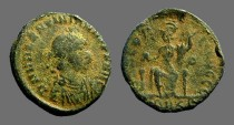 Ancient Coins - Valentinian II AE3 (18mm) Roma seated facing, holds globe.