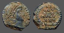 Ancient Coins - Constans AE4, Vows in wreath, VOT/XX/MVLT/X X   Antioch Turkey.
