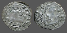 Ancient Coins - Second Bulgarian Empire. Ivan Stracimir AR17 Grosch Ivan on throne / Christ
