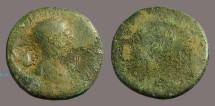 Ancient Coins - Trajan AE22 Antioch on Orontes.  time of war of Quietus.  Countermarked