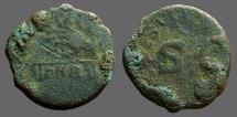 Ancient Coins - Claudius Bronze Quadrans. Hand holding scales / Large SC legend around.