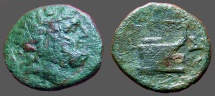Ancient Coins - Thrace AE18 Hd of Poseidon rt / Prow right, crowned by Nike flying right above