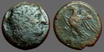 Ancient Coins - Sicily, Syracuse. Hiketas. AE23 Zeus Hellanios / Eagle on thundebolt