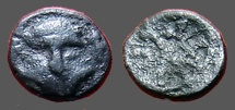 Ancient Coins - Thrace, Mesembria. AE9 Helmeted head of Athena right / META in the spokes of a wheel.