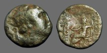Ancient Coins - Antiochos IV AE18 Hd of Antiochos / Zeus seated left