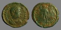 Ancient Coins - Arcadius AE2 GLORIA ROMANORVM  Arcadius w. standard & shield.