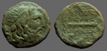 Ancient Coins - Kings of Macedon. Philip V AE23 Hd of Poseidon / Club within oak wreath