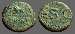 Ancient Coins - Claudius AE Quadrans hand holds scales / SC