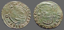 World Coins - Philip IV (16) Maravedis.  Bust rt / Crowned Shield AE25   Large denomination.