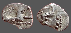 Ancient Coins - Cilicia, Tarsus AR silver obol. Baal seated left / Forepart of Wolf rt