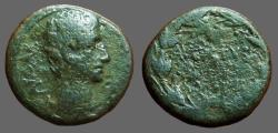 Ancient Coins - Augustus AE25 as. AVGVSTVS in wreath   Antioch.