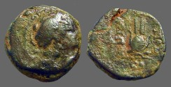 Ancient Coins - Antiochos VII AE18, Bust of Eros / Head dress of Isis