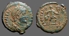 Ancient Coins - Valens AE3 Emperor dragging captive, holds, larbarum