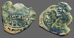 World Coins - Fernando V & Isabella AE 2 Maravedis   Castle / Rampant lion left.   1474-1504 AD.