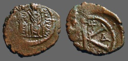 Ancient Coins - Justin II & Sophia AE22 1/2 Follis, Constantinople