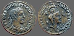 Ancient Coins - Philip I AE29 Antioch, Syria.  turreted & veiled Tyche