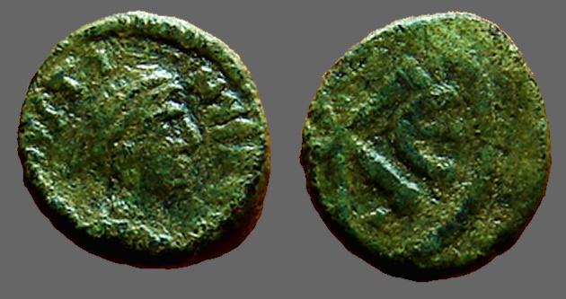 Ancient Coins - Justin I AE13 Pentanummium.  Chi Rho symbol   Constantinople.