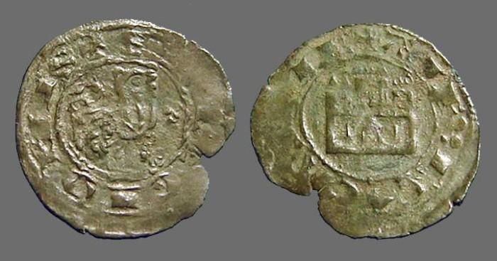 World Coins - Alfonso X billon Maravedi Prieto.  Castle / Lion right