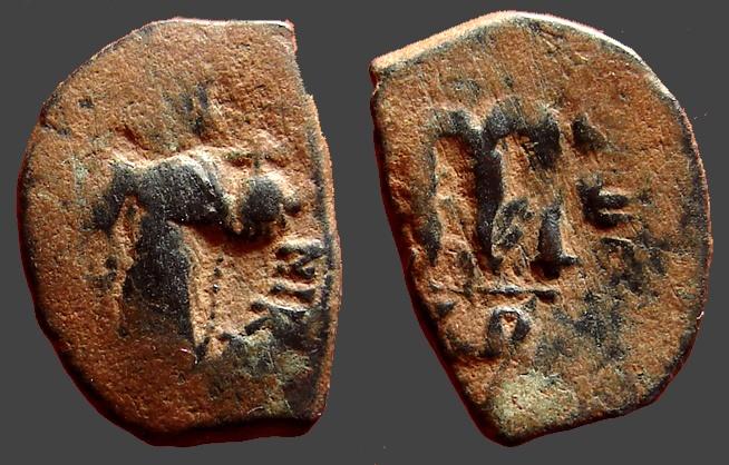Ancient Coins - Constans II AE18 Follis Constans stg w. globus cruciger & staff w. cross.     Constantinople.