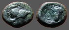 Ancient Coins - Lokris Opuntia, Æ15 Hd of Athena in crested Corinthian helmet / ΛOK-PΩN, grape cluster