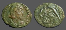 Ancient Coins - Constantius II AE Centionalis; Soldier spearing fallen horseman