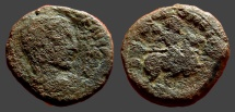 Ancient Coins - Trajan Decius AE23 Caesarea Maritima Decius on horseback w. spear.  enemy below