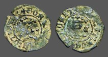 Ancient Coins - Fernando V & Isabella, 18mm billon Blanca.  1474-1504 AD.  Cuenca Mint