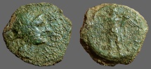 Ancient Coins - Spain, Corduba AE20 Semis. Bust of Venus / Winged Eros w. torch & cornucopia