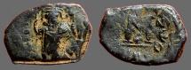 Ancient Coins - Constans II AE19 Follis Constans stg w. globus cruciger & staff w. cross.  Constantinople