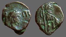 Ancient Coins - Leo I AE4 Leo stg w. long cross and hand on kneeling captive