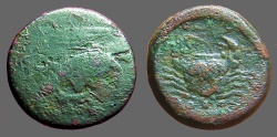 Ancient Coins - Agrigentum, Sicily AE22 Tetras.  Crab / Eagle w. hare