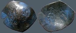 Ancient Coins - Alexius III  AE Aspron Trachy.  Christ / Alexius III & St. Constantine